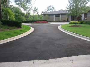 Brick paver border with brick paver circle